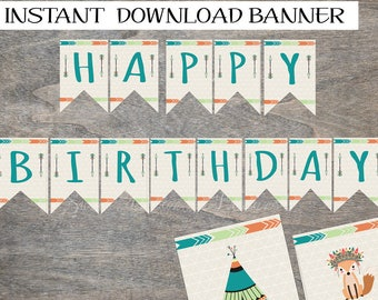 Tribal Pennant Banner printable and digital file | Wild One Boho Feather Arrows Fox Teepee Aztec Birthday Party | INSTANT DOWNLOAD