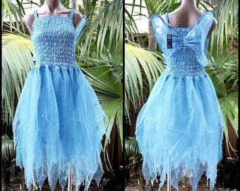 Fairy Dress Adult Size Party Costume with Wings - Snow Queen Light Blue/Aqua