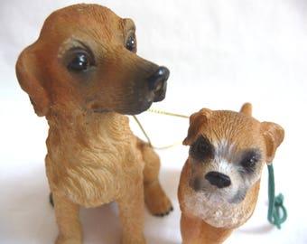 Dog Ornaments, Two Dog Ornaments, Irish Setter Ornament, Boxer Ornament, Hanging Ornaments, Supplies, Crafts, Display, Christmas Ornaments