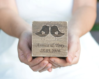 Wedding Ring Box Love Birds Ring Box Rustic Wedding Ring  Bearer Personalized Wedding Ring Holder Ring Pillow Love Bird Wedding