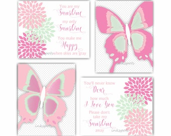 Butterfly Art Print You Are My Sunshine Wall Art Pink Nursery Art Floral Print Butterfly Wall Decor Butterfly Nursery Baby Shower BF2636