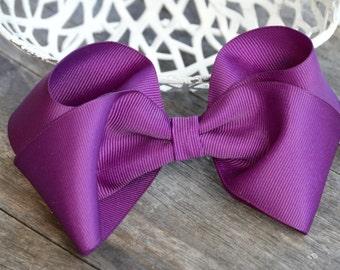 """Purple 5"""" Hair Bow, Boutique Hair Bow, Hair Accessory, Bow Clips, Hair Bow Alligator Clip, Hair bows, Hair Boutique Bow, Accessories"""
