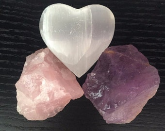 Rose Quartz Crystal LOVE Set, Healing Crystals and Stones SET infused w/ Reiki / Valentines Day Gift Idea