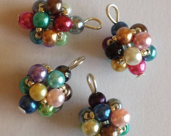 4 4mm multicolored glass pearl beads pendants