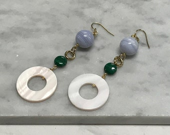 Blue Lace Agate, Malachite, Mother of Pearl Earrings