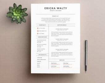 """Modèle de CV """"ERICKA"""" moderne & Lettre de motivation   4 Pages   Pour Ms Word   Guide d'utilisation Français + Anglais   Professionnel  """