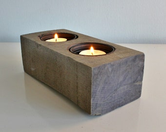 "8"" Reclaimed Wood Tea Light Candle Holder, Rustic Home Decor, Table Center Piece"