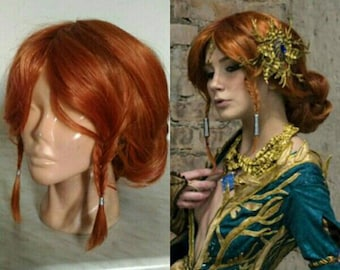 Triss Merigold The Witcher cosplay wig lacefront handmade