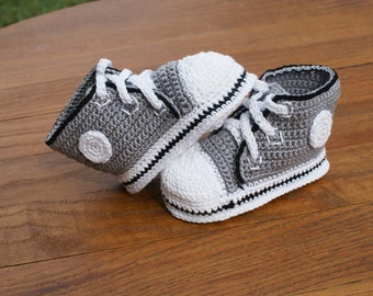 Grey with Black Trim Crochet Baby Converse Inspired Shoes