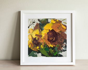Sunflowers Painting Small Kitchen Decor Yellow Wall Art Country Home Decor Modern Painting Gift for Her Gift for Mom