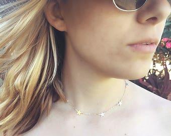 Tiny Star Necklace, Gold Star Necklace, Star Choker, Minimalist Necklace, Star Jewelry
