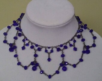 Crystal Blue Victorian Necklace