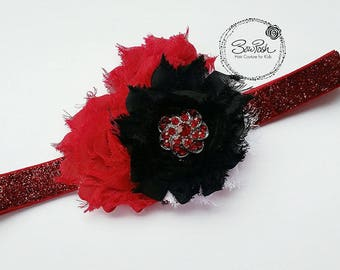 Riley-Shabby serre-tête, bandeau shabby rouge, bandeau strass, ce serre-tête paillettes, bandeau paillettes, bandeau rouge et noir, BowPosh