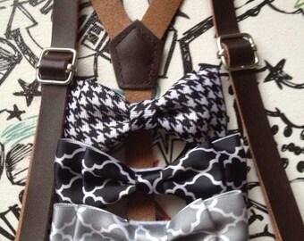 Dark Brown Leather Suspenders Ring bearer Outfit Newborn-Adult Espresso Men Braces for toddler baby boy Rustic wedding Groomsmen Bowtie gift