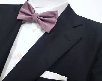 Dusty Lilac Purple Bow Tie in Solid Woven Tonal (Pocket Square Available)
