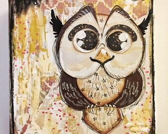 "6"" x 6"" Mixed Media Owl Canvas (pink)"