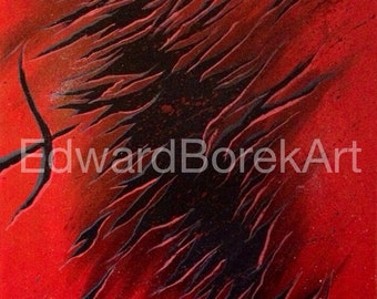 Red and black abstract acrylic painting