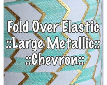 Fold Over Elastic - Large Metallic Chevron, hair bow making and accessories