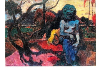 Paul Gauguin - The Idol - Rave Te Hiti Aamu - 1977 Vintage Book Page - Tipped In Plate - Masterpiece Painting - Reproduction Print - 12 x 10