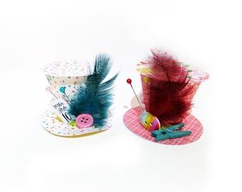 Party Theme Handmade Mad Hatter Hats - Alice in Wonderland Decorations, Baby Shower, Gender Reveal, Wonderland Wedding, Christmas Decor