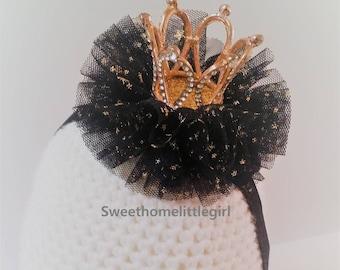 halloween crown headband,crown headband,halloween headband,black tulle,soft tulle,golden stars,black elastic,elastic headband