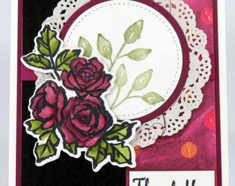 Thank You Roses. Hand Stamped, Handmade, Greeting Card, Deep Rose, White, Black, Envelope included, Stampin' Up!  Feminine