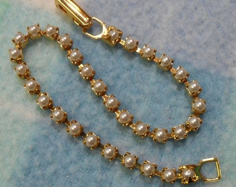 """Tennis Bracelet- 3 mm Faux Pearls Nested in Gold, 7"""" long"""