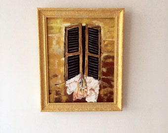 Oil paintings in golden Shades-open golden window-modern painting-dim. 40 x 50 cm-Contemporary-Worldwide shipping