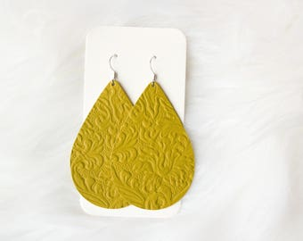 Retro Green Leather Drop Earrings, the leather drop