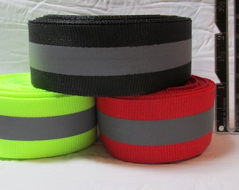 """5 yard pkgs of 25mm or 1 inch Reflective Fabric Tape, Grosgrain, Ribbon, Sew On 1"""" / 3/8"""" or 25mm/10mm for leash, collar, clothing, trim"""