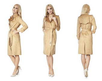 CARMEL-LOVE  faux suede coat  / trench coat / belted trench coat / midi Coat / suede coat / designer coat / classic coat