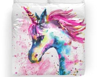 Pink Unicorn Duvet Cover Unicorn Unicorn Bedding Unicorn Duvet Unicorn ComforterKids Bedding Duvet Rainbow Pink Rainbow unicorn bedding set