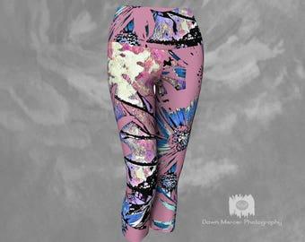 Floral Capris Yoga leggings Pink Floral Tights Capris Printed Capri Leggings Cropped Yoga Pants Womens Floral Abstract Yoga Capri Tights