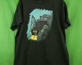 Vintage 90s Wild About Reading T-Shirt XL Fruit of the Loom Made in USA 1995 Retro Roller Coaster Theme Park 50/50 Blend