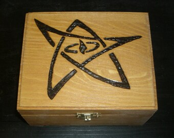 Elder Sign Box (Pyrography) You Pick the Color, Free US Shipping