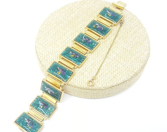 Vintage Green Enamel Gold Link Bracelet, 1960s Statement Jewelry, Coloeful Enamel, Big Bold Link Bracelet