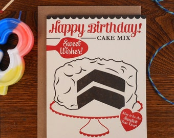 letterpress happy birthday cake mix greeting card sweetest wishes sweetest year ever