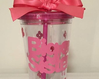 Monogrammed Big Sister Tumbler Cup, Personalized Gift, Big Sister Gift, Big Sister, Big siter Cup, Shower gift for the big sister