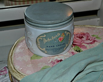 Debutante Hand Cream Jar- Milk Glass-Vanity Collectible- Boudoir Accessory