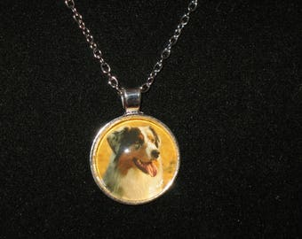 Australian Shepherd Dog Breed Glass Cabochon Silver Pendant Necklace 24 inch