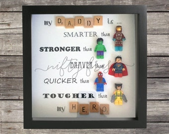 Framed Superhero Lego Compatible Minifigure Wall Display for Dad Mom Brother Sister Grandpa Grandma Daddy Father's Day Birthday Gift