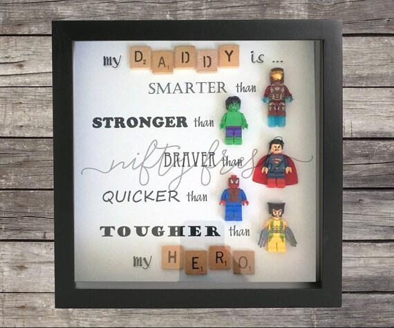 Umrahmt von superhelden lego kompatibel minifigur wand display for Geburtstagsgeschenk bruder