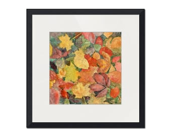 Leaf Art  | watercolor painting | orange red earth tones | fall decor