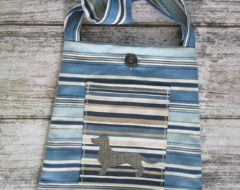 Bucket Bag/Tote - blue stripes with wiener dog (Dachshund) on pocket