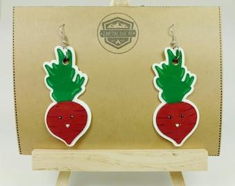 Beet Earrings - Kawaii Beets - Veggie Earrings - Vegan Earrings - Vegan Jewelry - Kawaii Jewelry - Kawaii Veggies