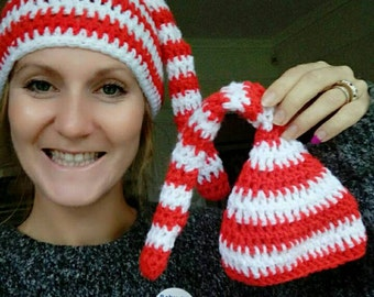 Mummy and baby matching hat set. Crochet outfit. Handmade hat.