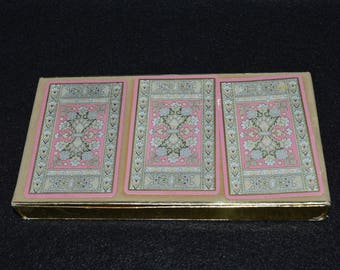 Vintage Canasta Card Decks, Set of 3 Card Decks for Samba or 3 Pack Canasta, Playing Cards with Vintage Case, Boxed Set of Playing Cards