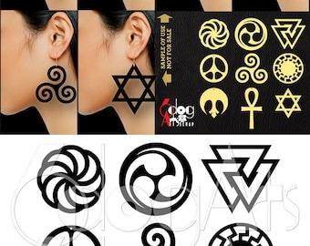 9 Wood / Acrylic / Metal Symbol Earring / Pendant Templates Vector Digital SVG DXF Jewelry Cut Files Download Laser Die Cutting JB-1104