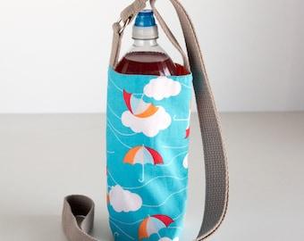 Umbrella Water Bottle Holder, Clouds Water Bottle Sling, Crossbody, Blue, Red, Orange, and White Cotton Fabrics, Handmade