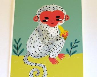 Monkey Greetings Card - Bright Illustrated Card - Cute Animal Notecard